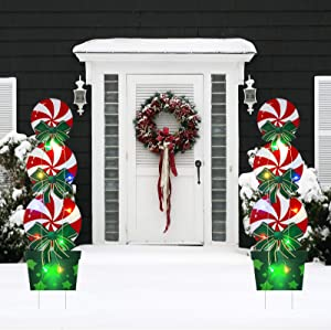 Christmas Candy Stakes Signs,46In New Year Outdoor Decorations with String Lights, Xmas Yard Stakes for Lawn Yard Pathway Walkway Candyland Themed Holiday Party(1 Set)