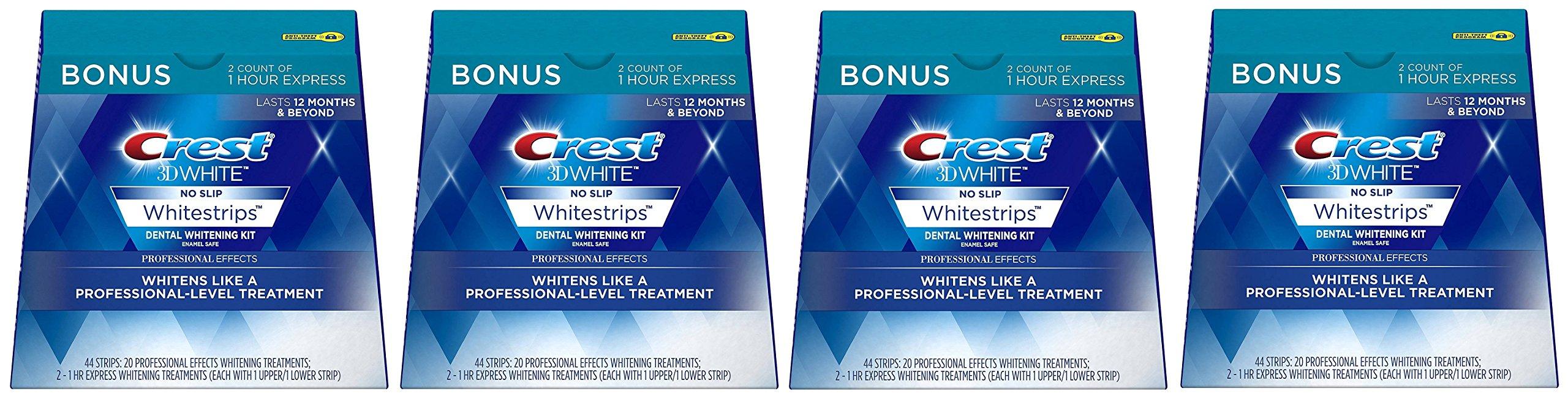 Crest 3D White Professional Effects mmLBsT Whitestrips Dental Teeth Whitening Strips Kit, 4 Pack