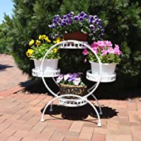 Sunnydaze Decor 4-Tier Ferris Wheel Indoor/Outdoor Plant Stand, White