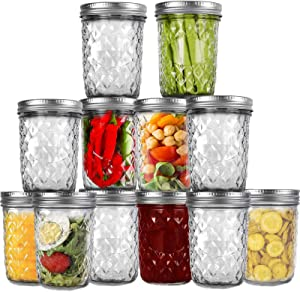 CKCY Mason Jars 16 oz, Wide Mouth Canning Jars With Lids, DIY Magnetic Spice Jars, Glass Jars for Jam, Honey, Jelly, Wedding Favors, Shower Favors, Baby Foods, Set of 12