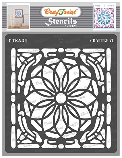 Craftreat Flower Paint Stencils For Painting On Glass Stained Glass Patterns 12x12 Inches Reusable Diy Stencils For Glass Painting Glass Painting Stencil Of Flowers Amazon In Home Kitchen