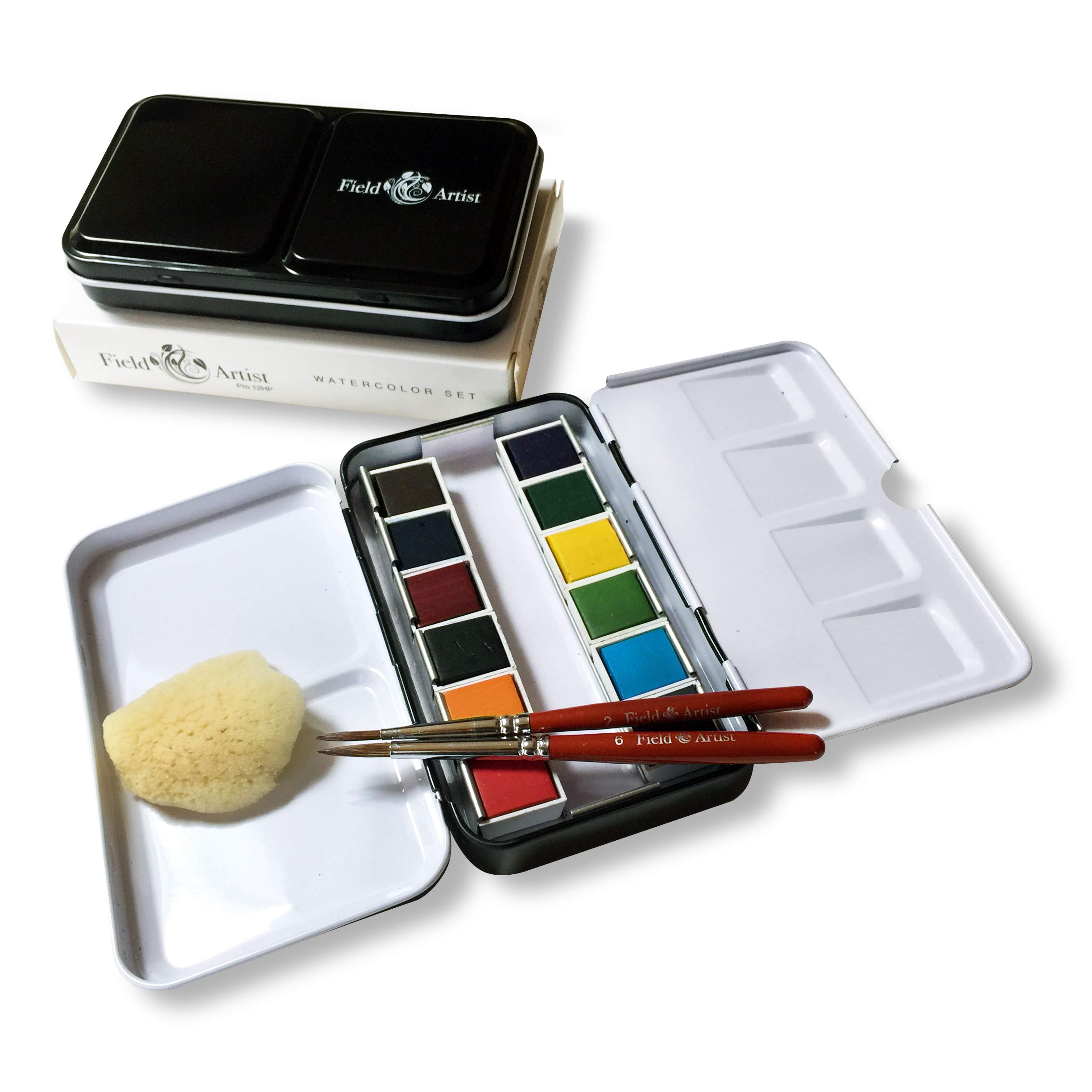 Field Artist Pro 12HP - Complete Travel Watercolor Set Includes 12 Brilliant Half Pan Colors, 2 Custom Brushes, a Genuine Sea Sponge, a Classic Metal Field Box, All fits in Your Pocket! by Field Artist