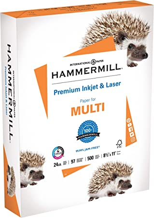 Amazon Com Hammermill Printer Paper Premium Inkjet Laser Paper 24 Lb 8 5 X 11 1 Ream 500 Sheets 97 Bright Made In The Usa Office Products