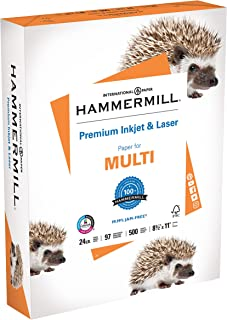 product image for Hammermill Printer Paper, Premium Inkjet & Laser Paper 24 lb, 8.5 x 11 - 1 Ream (500 Sheets) - 97 Bright, Made in the USA