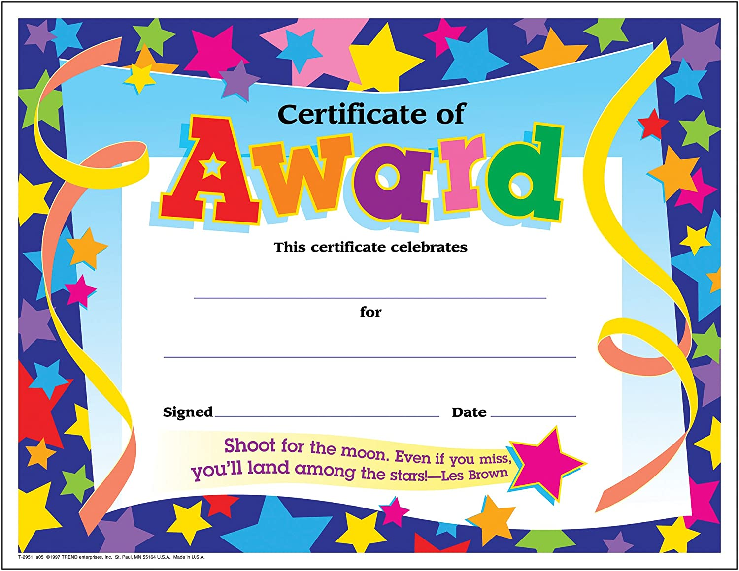 Trend Enterprises Certificate of Award Colorful Classics Certificates, 8.5 x 11 Inches - 30 Piece, (T-2951)