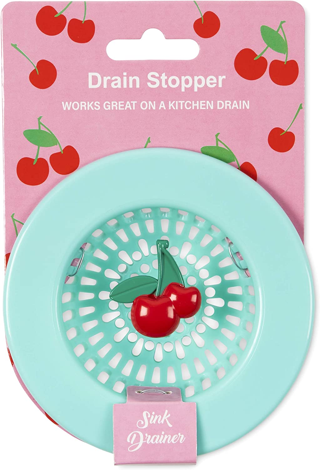 Cherry Themed Kitchen Accessory Plastic Sink Drain Basket Strainer and Stopper with Colorful Blue and Red Design