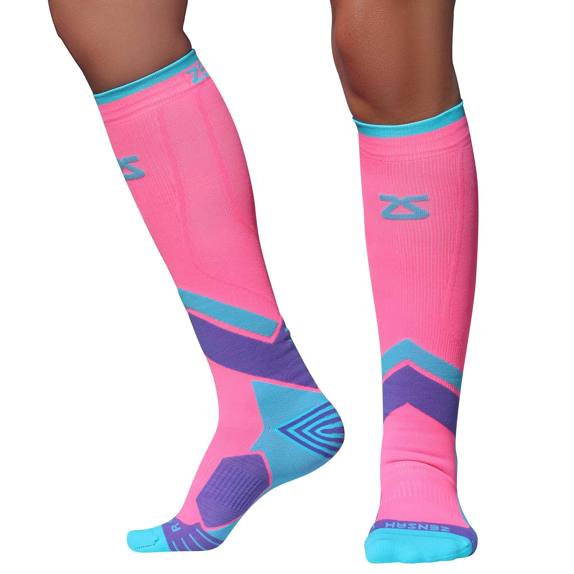 Zensah Pop Tech+ Compression Graduated Compression Socks, Coral/Mint/Purple, Small
