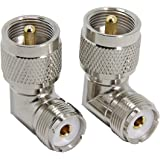 PL259 Right Angle, 2-Pack UHF Male to Female RF Coax Connector Adapter, RFAdapter 90 Degree Elbow for CB Ham Radio…