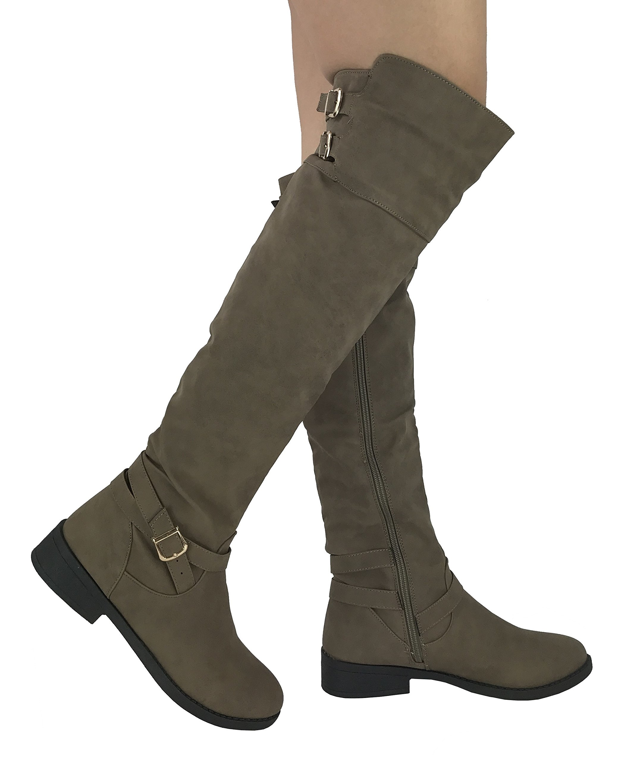 Wells Collection Womens Fiorina Over The Knee High Tall Riding Boots with Zipper,Taupe, 10