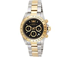 Invicta Men's Speedway 39.5mm Steel and Gold Tone Stainless Steel Chronograph Quartz Watch, Two Tone/Black (Model: 9224)