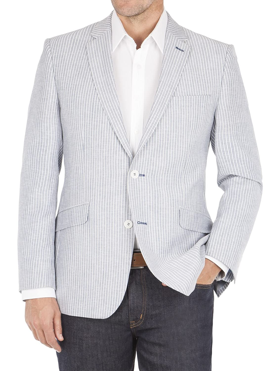 Suit Direct Aston & Gunn Blue Linen Double Stripe Jacket - 0046192 Regular Fit Formal Jacket