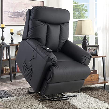 Merax Lift Chair and Power PU Leather Living Room Heavy Duty Reclining  Mechanism (Black)
