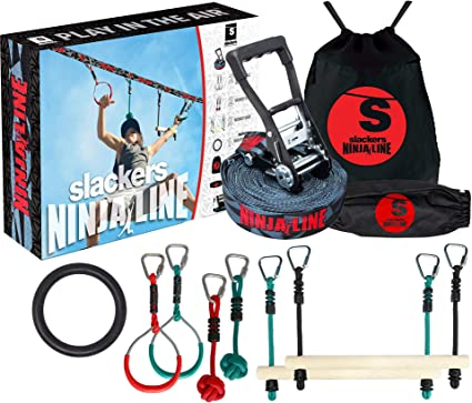 Slackers Ninjaline - 36 Intro Kit - Includes 7 Hanging Attachments - Best Outdoor Ninja Warrior Training Equipment For Kids - Build Your Very Own ...