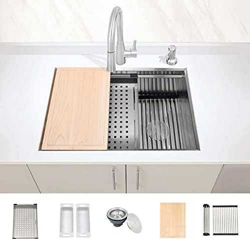 ZUHNE Level 28-Inch Undermount Workstation Kitchen Sink, Ledge Accessories Stainless Steel 16 Gauge Single Bowl Left Right Reversible Offset Drain for 30 Cabinet
