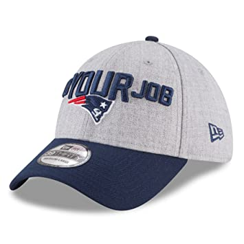 Men s New England Patriots New Era Heather Gray Navy 2018 NFL Draft  Official On-Stage 39THIRTY Flex Hat (Medium Large) 2d627bf2295