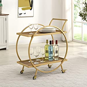 FirsTime & Co. Silver and Gray Odessa Bar Cart, American Designed, 28 inches, Gold & Brown (70245)