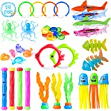 39 Pcs Diving Pool Toys for Kids, Diving Toy Set, Diving Pool Toy Rings Diving Shark, Diving Sticks, Seaweed, Stringy Octopus