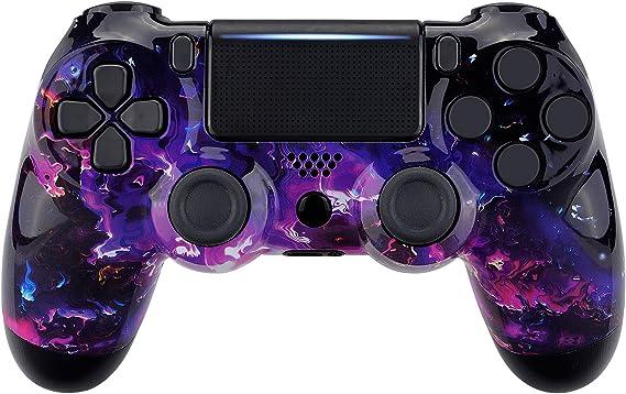 eXtremeRate Coque Avant,Boîtier Housse Remplacement pour Playstation 4 PS4 Slim PS4 Pro Manette Contrôleur (CUH-ZCT2 JDM-040 JDM-050 JDM-055) - Lave Surréaliste