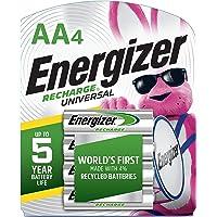 Energizer Recharge Universal, AA, 4 Rechargeable Battery - Pilas (AA, 4, Rechargeable Battery, 4 Pieza(s), Verde, Plata, Ampolla, AA)