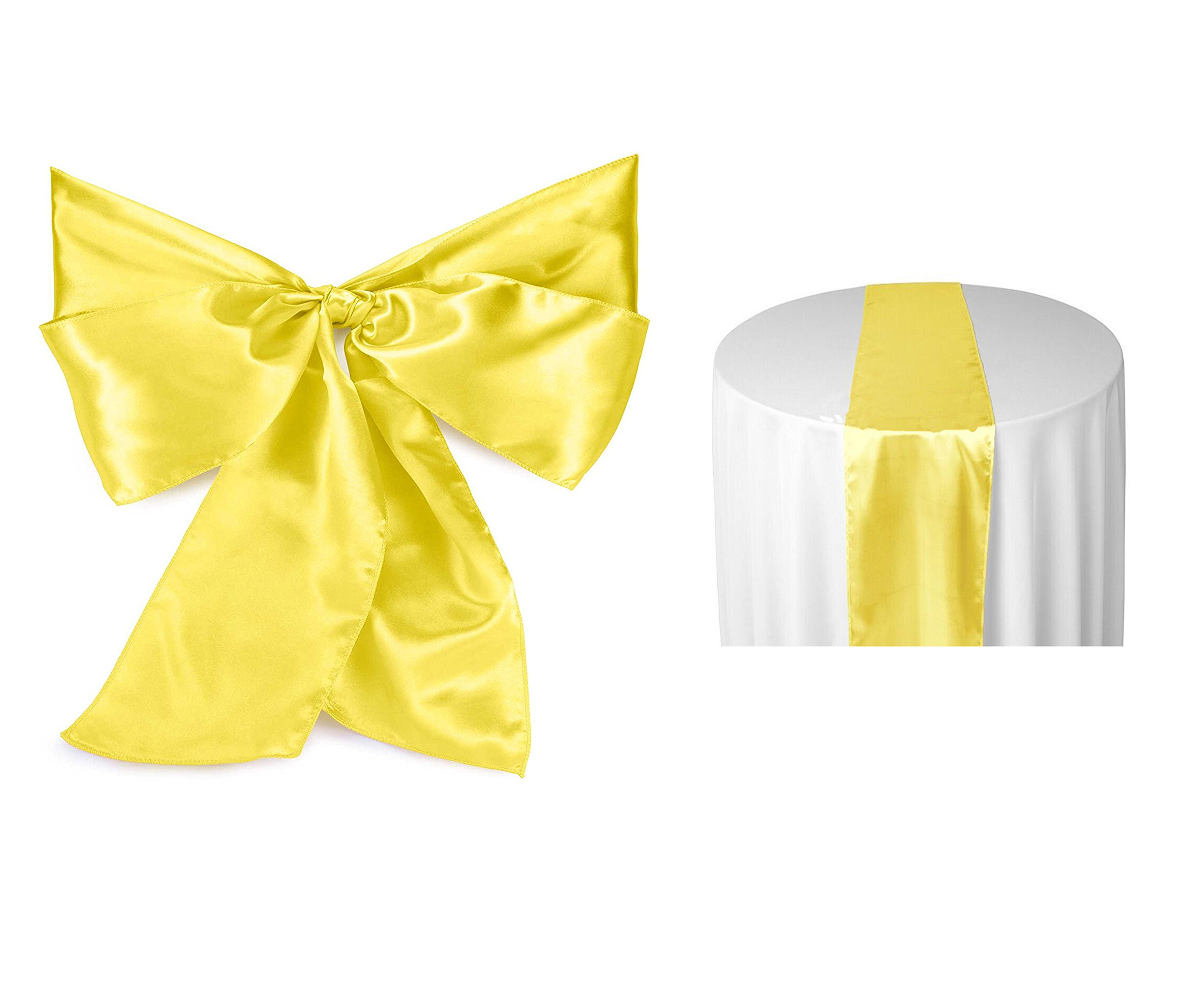 Elina Home Yellow Satin 1 Table Runner & 5 Combo of TableRunner and Chair Bow Sash for Wedding