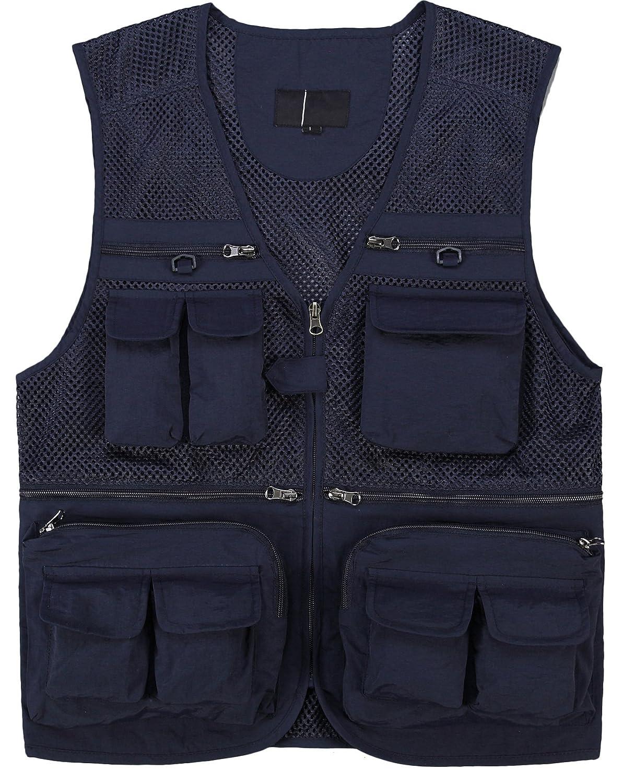 Men's Outdoor Multifunction Multi-pocket Mesh Fishing Photo Journalist's Vest Navy US S/Label XL