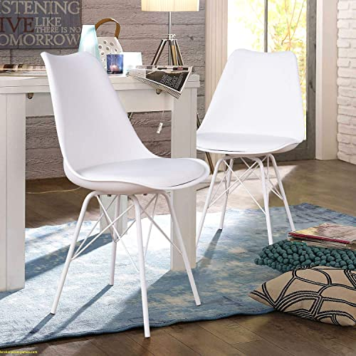 JUMMICO Kitchen Dining Chair with Soft Padded Mid Century Shell Side Chair Armless Tulip Chair Set of 4 White