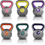 JLL® Coloured Vinyl Kettlebells 2kg-16kg, Home Gym, Training, Weight, Fitness, Available in sets