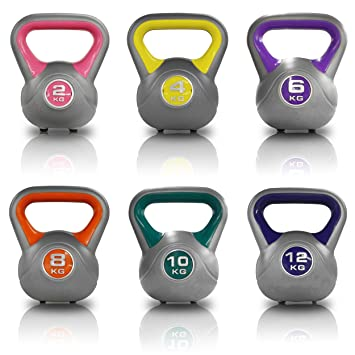 york kettlebells. jll® vinyl colour coded kettlebells home gym training weight fitness kettlebell 2kg, 4kg, york