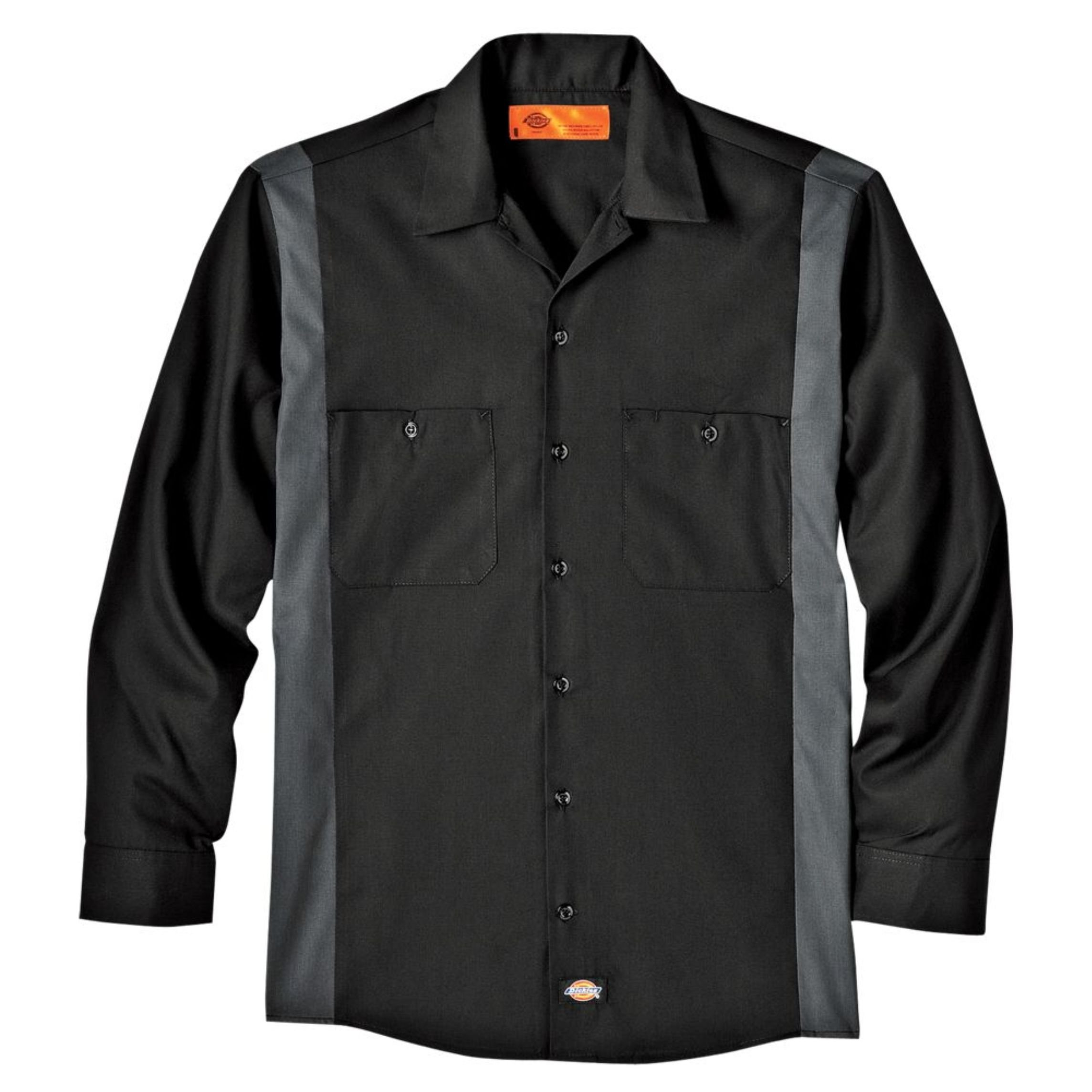 Dickies Occupational Workwear LL524BKCH 3XL Polyester/ Cotton Men's Long Sleeve Industrial Color Block Shirt, 3X-Large, Black/ Dark Charcoal by Dickies Occupational Workwear