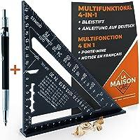 Multifunctionele timmermanshoek 180 mm [potlood + handleiding) aluminium, liniaal aanslaghoek meetmaat gradenboog 45 90…