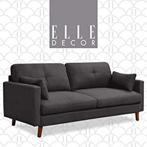 "Elle Decor Alix Upholstered Living Room Sofa, Tufted Fabric Couch, Mid-Century Walnut Tapered Footers, 78"" Sofa, Charcoal"