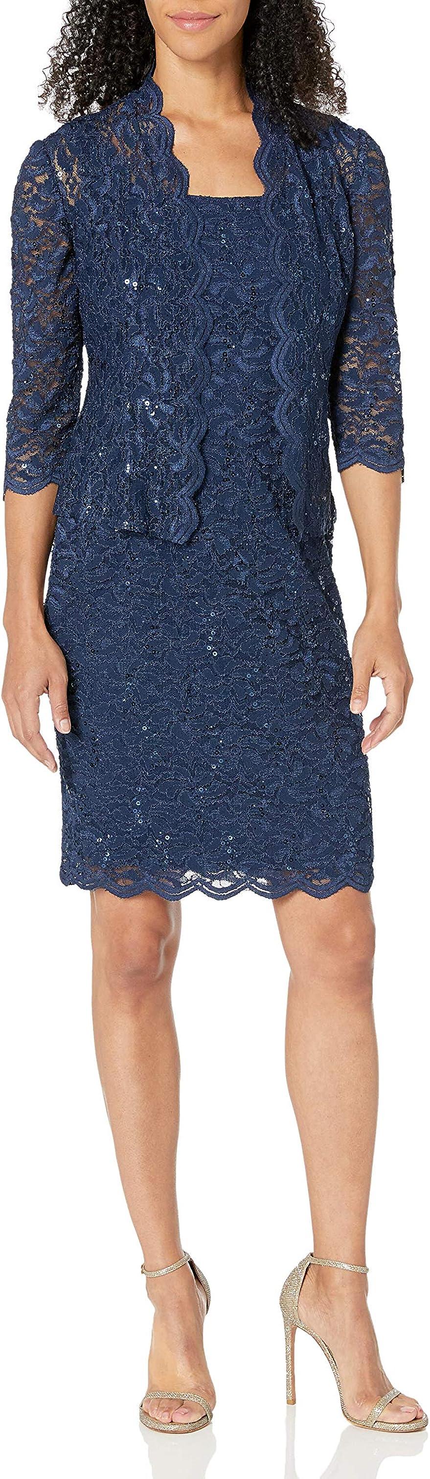 金盒特价 Alex Evenings 亮片点缀 女式蕾丝晚礼服套装 $134.25 多色可选  海淘转运到手约¥975