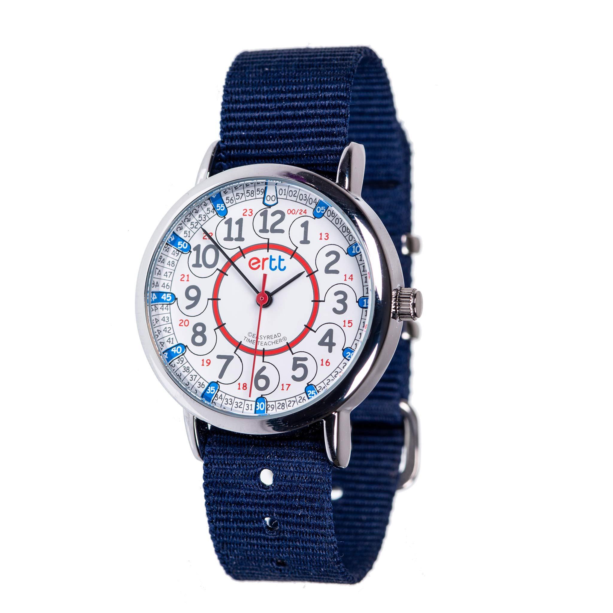 EasyRead Time Teacher Children's Watch, Red Blue 12/24 Hour Face, Navy Blue Strap by EasyRead Time Teacher