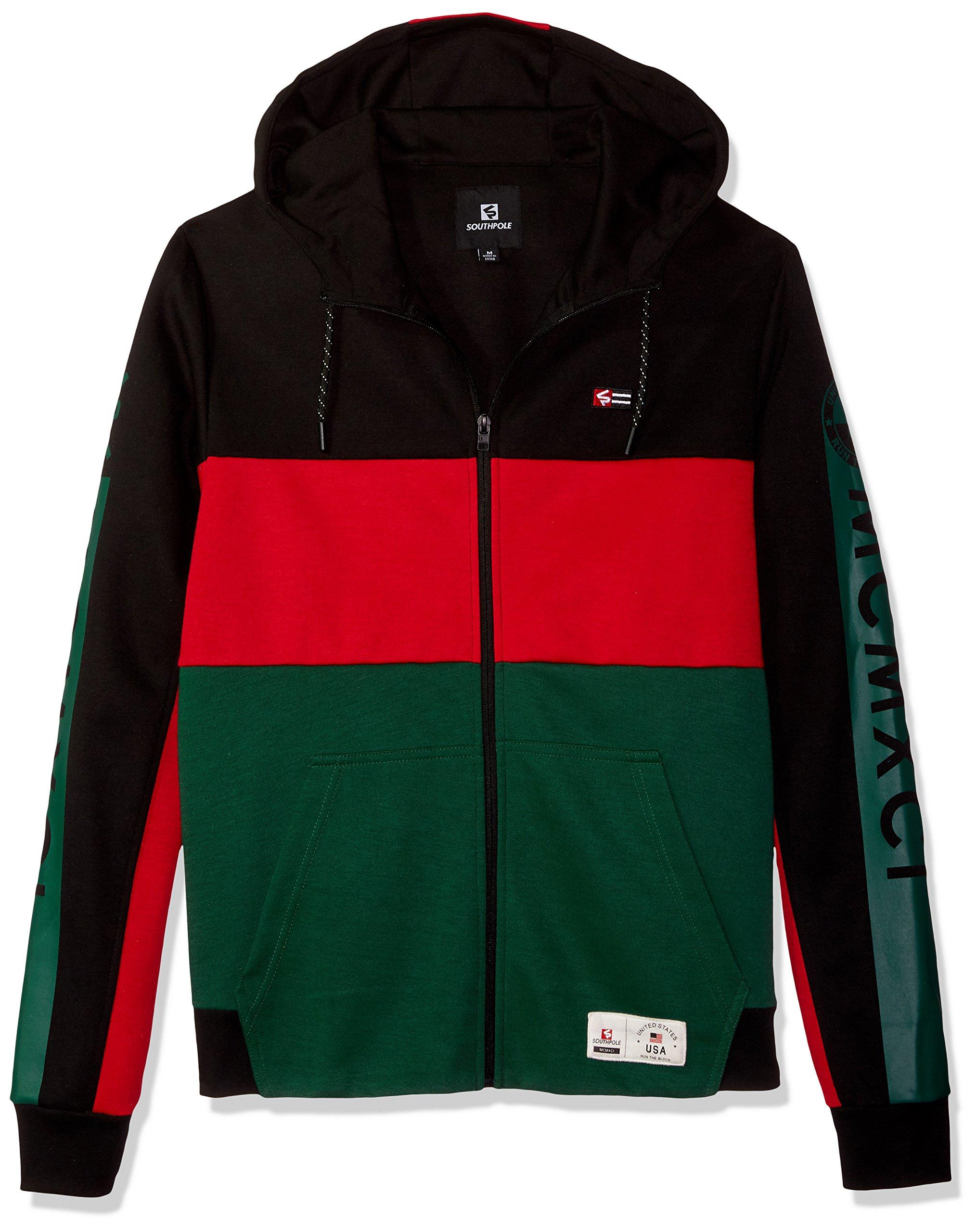 Southpole Men's Colorblock Fashion Tech Fleece Hooded Fullzip, Black, Large