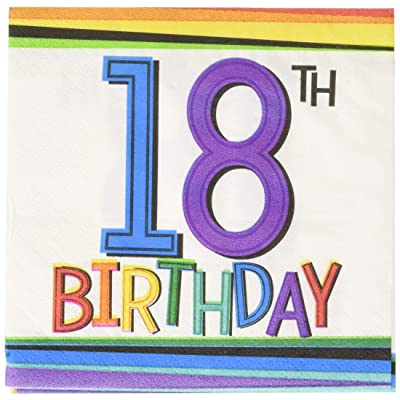 Amscan 5018362 Party Supplies Rainbow 18th Birthday Beverage Napkins, One Size, Multi Color: Toys & Games