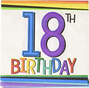 Amscan Party Supplies Rainbow 18th Birthday Beverage Napkins, One Size, Multi Color