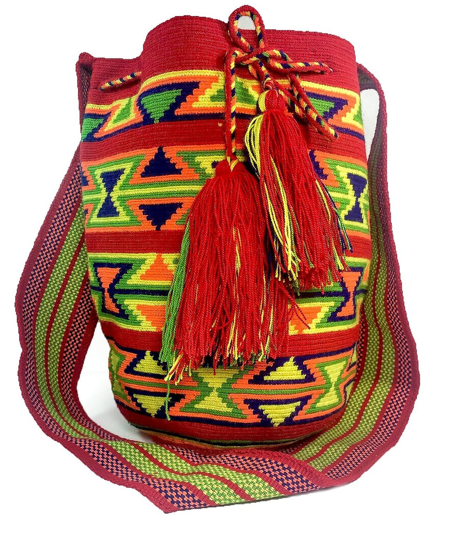 Mochila Wayuu 100% Hand Woven ONE THREAD Large Shoulder Bag with Draw String Tassels -Multicolor