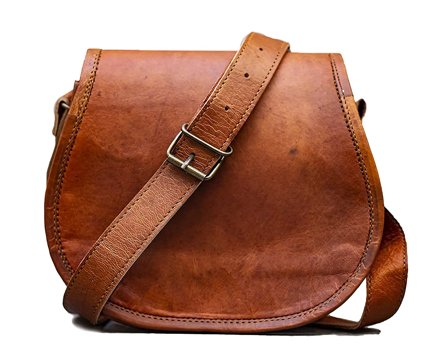 PASCADO Brown Vintage leather crossbody Purse satchel small cute crossover round bags for women sling shoulder bag clearance