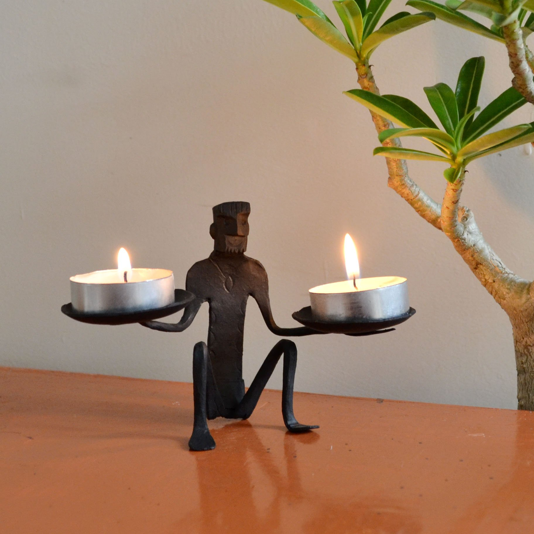 Chinhhari Arts, Indian Decorative African Tribal Arts Table Decor Candle Stand Wrought Iron Handmade Accents