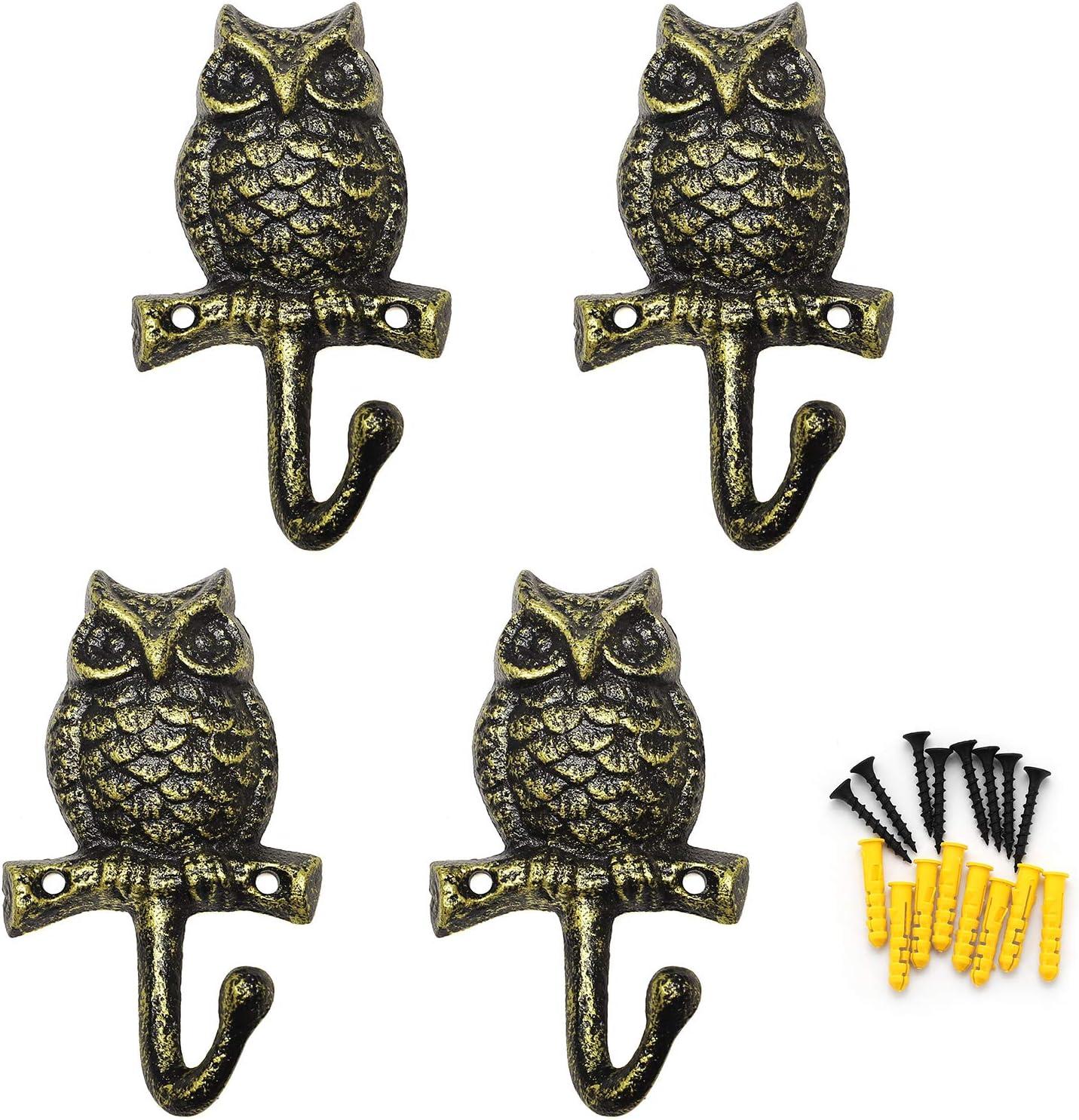 Coat Hooks Hanging Wall Mounted Rustic Decorative Owl Hook, Cast Iron 4 Inch Key Holder Wall Decor, Set of 4
