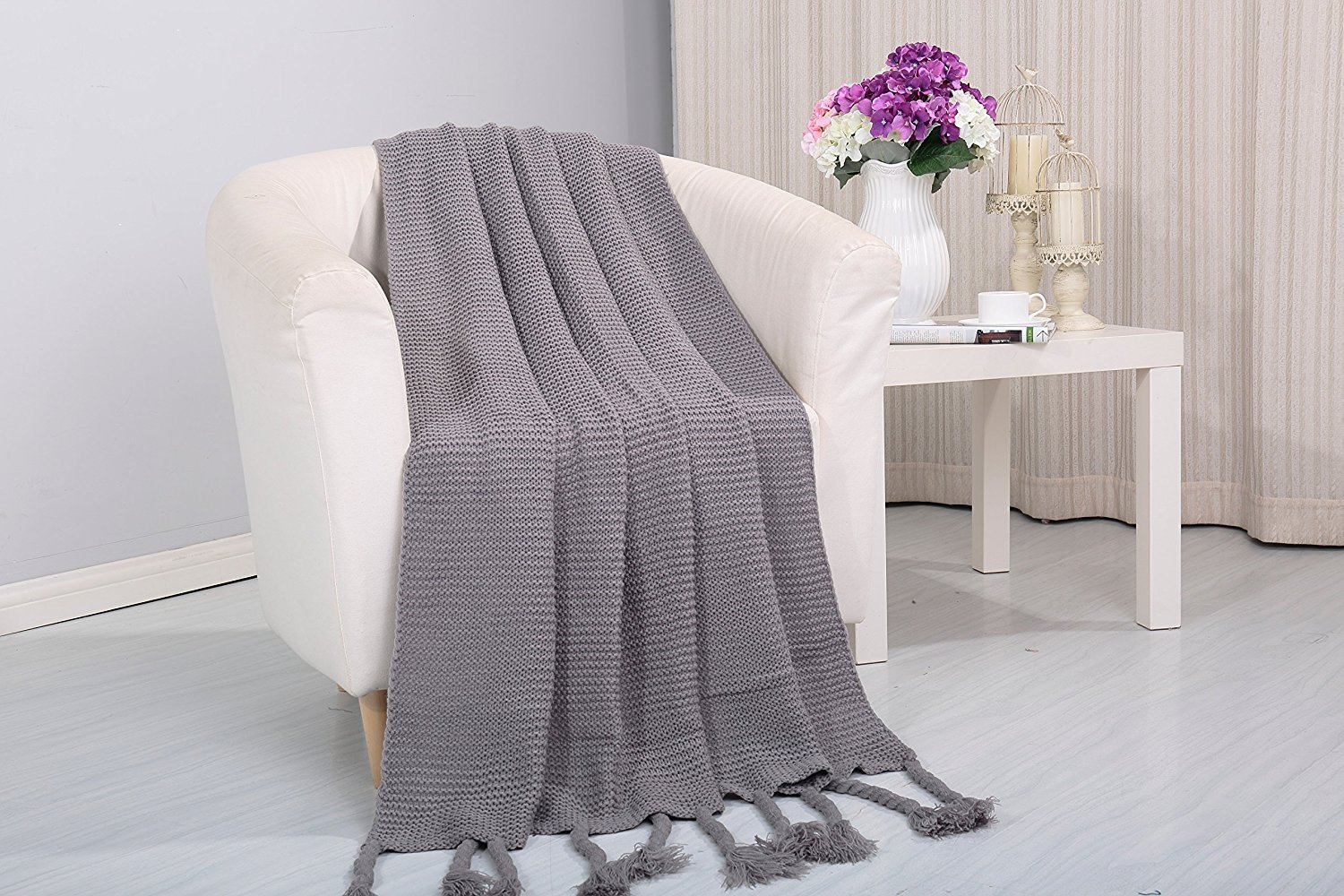 Magnificent Camilla Knitted Throw Couch Cover Sofa Blanket 50X60 Grey Creativecarmelina Interior Chair Design Creativecarmelinacom
