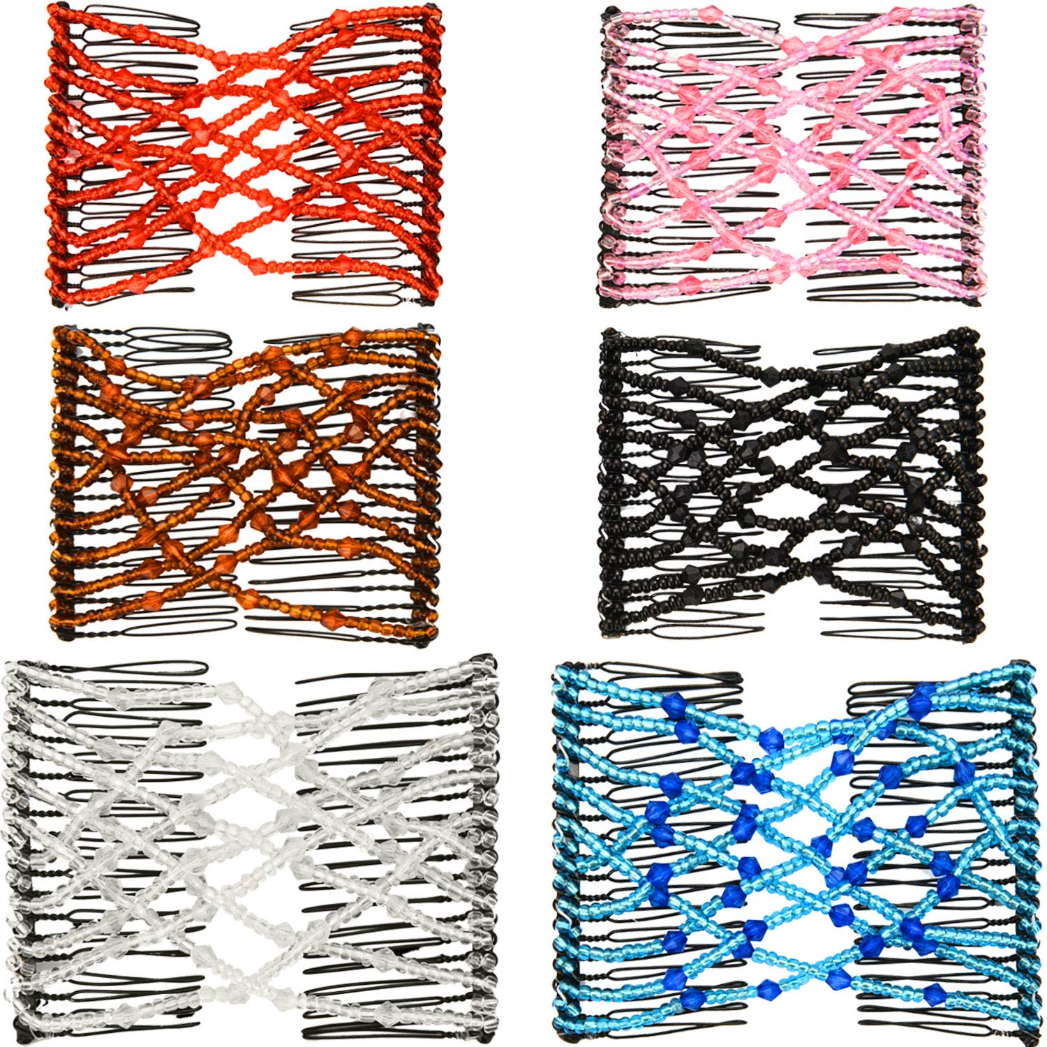 Details about  /Beads Elasticity Double Hair Comb Clip Stretchy Combs WJ Clips Women B4U6
