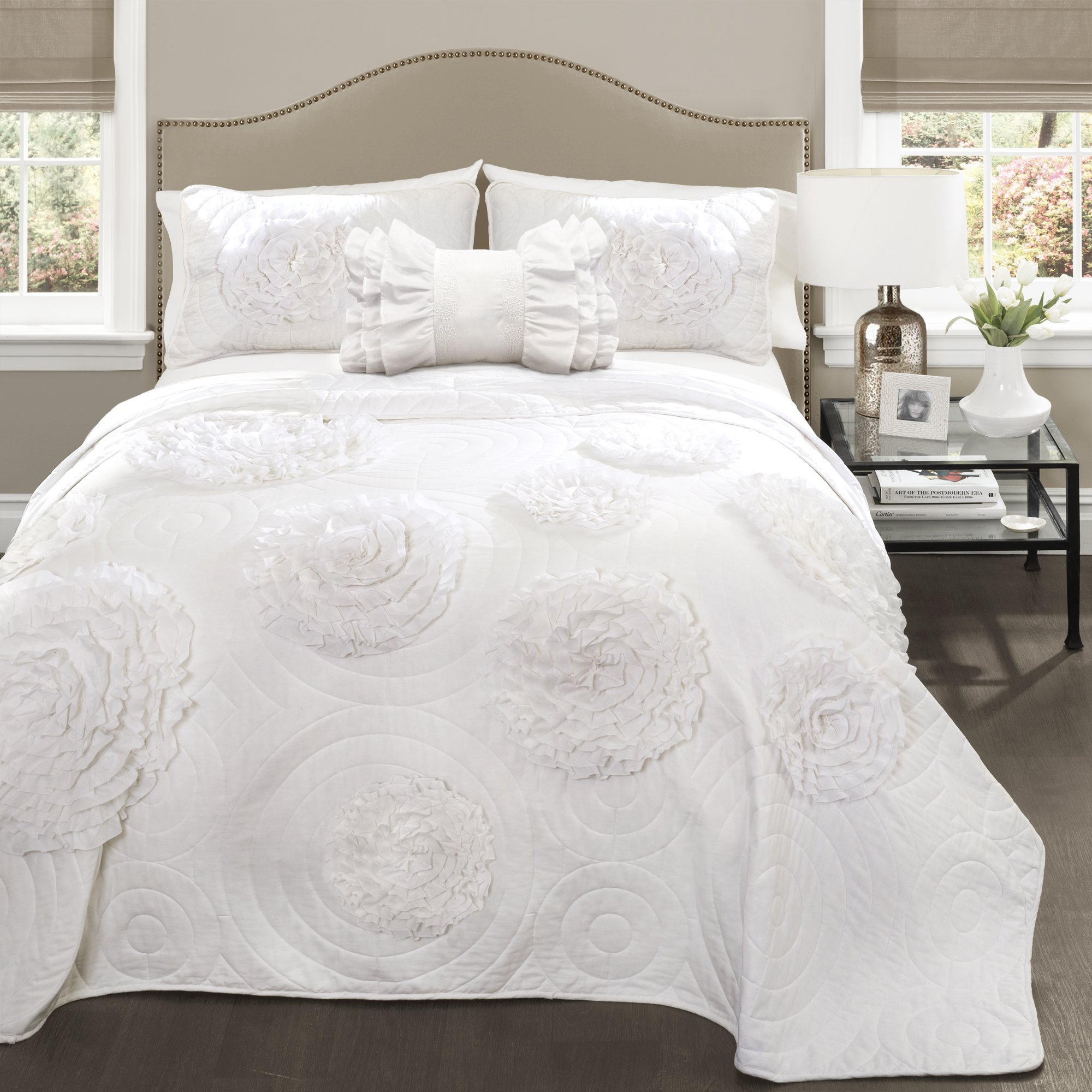 Lush Decor 16T000090 4 Piece Fiorella Quilt White Set, Full/Queen, White