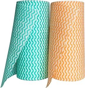 MsFun Reusable Towels for Kitchen – Mutlipurpose Nonwoven Towels – Reusable Towels Washable- Disposable Dish Cloth (2 Roll = 120 Sheets)