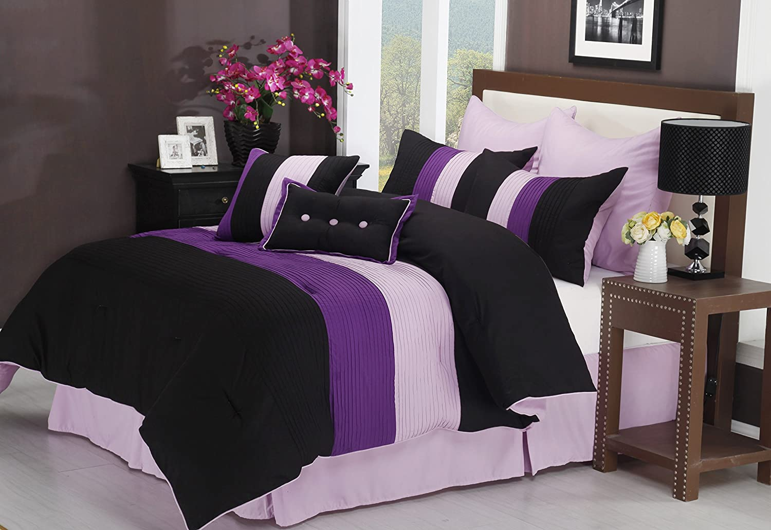 Impressions 8-Piece Luxurious Comforter Full Set, Florence, Purple