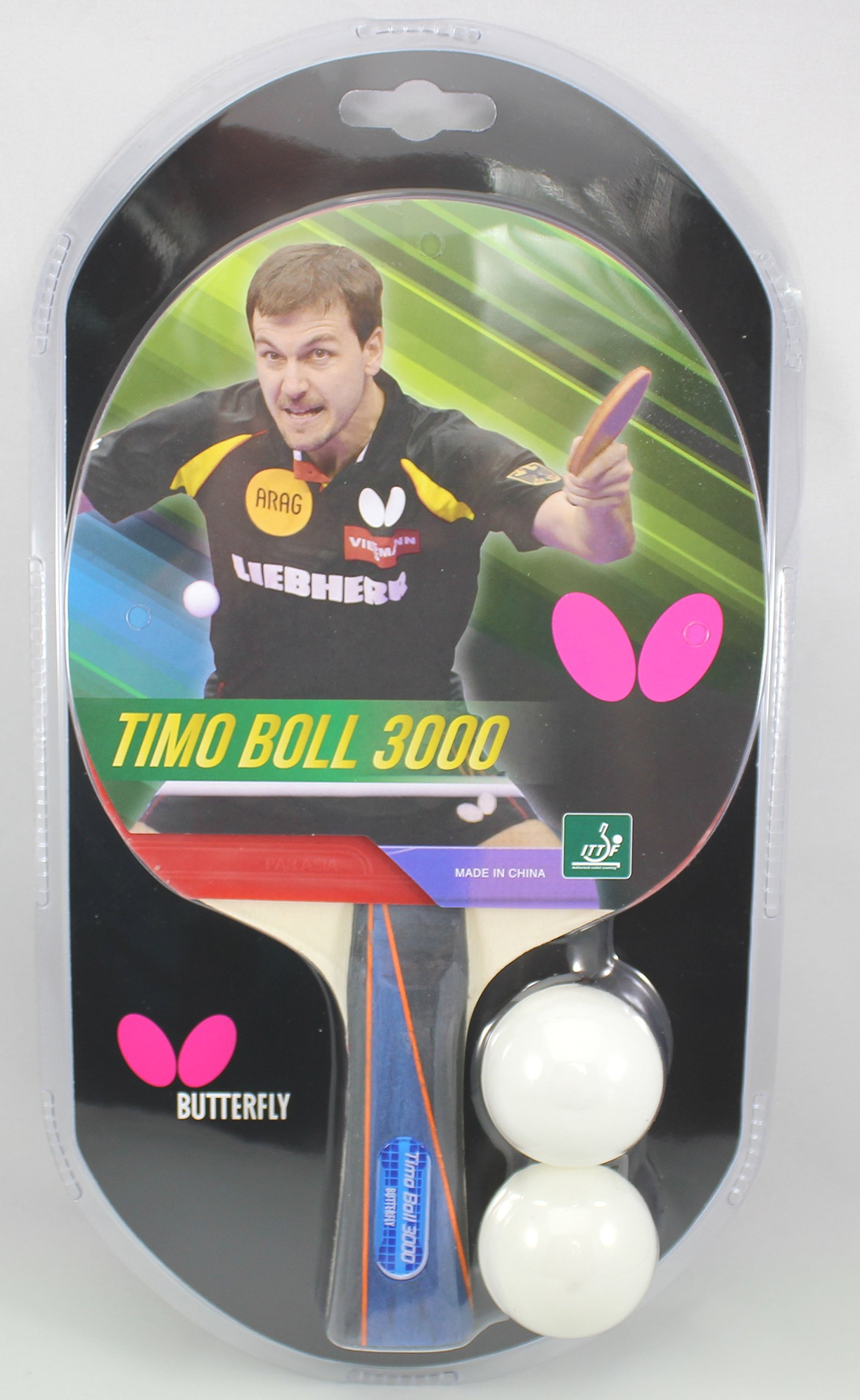 Butterfly Timo Boll Table Tennis Racket - 1 Ping Pong Paddle – 2 Ping Pong Balls - Sponge and Rubber Ping Pong Racket - 3 Grip Color and Sponge Thickness Models - ITTF Approved For Table Tennis Tournaments