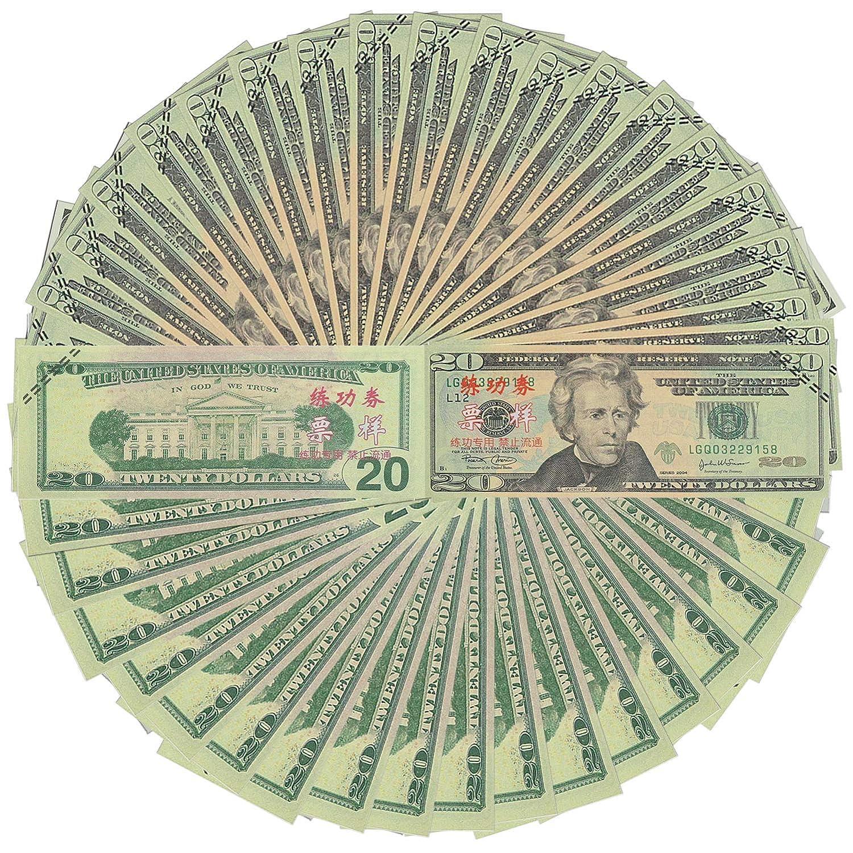 ELM Game Prop Money Play Money Pretend Dollar Bills $2,000 Full Print Money Copy of $20 Dollar Bills Stack, for Movie, TV, Videos, Pranks, Birthday Party, Play Board Games, Photography