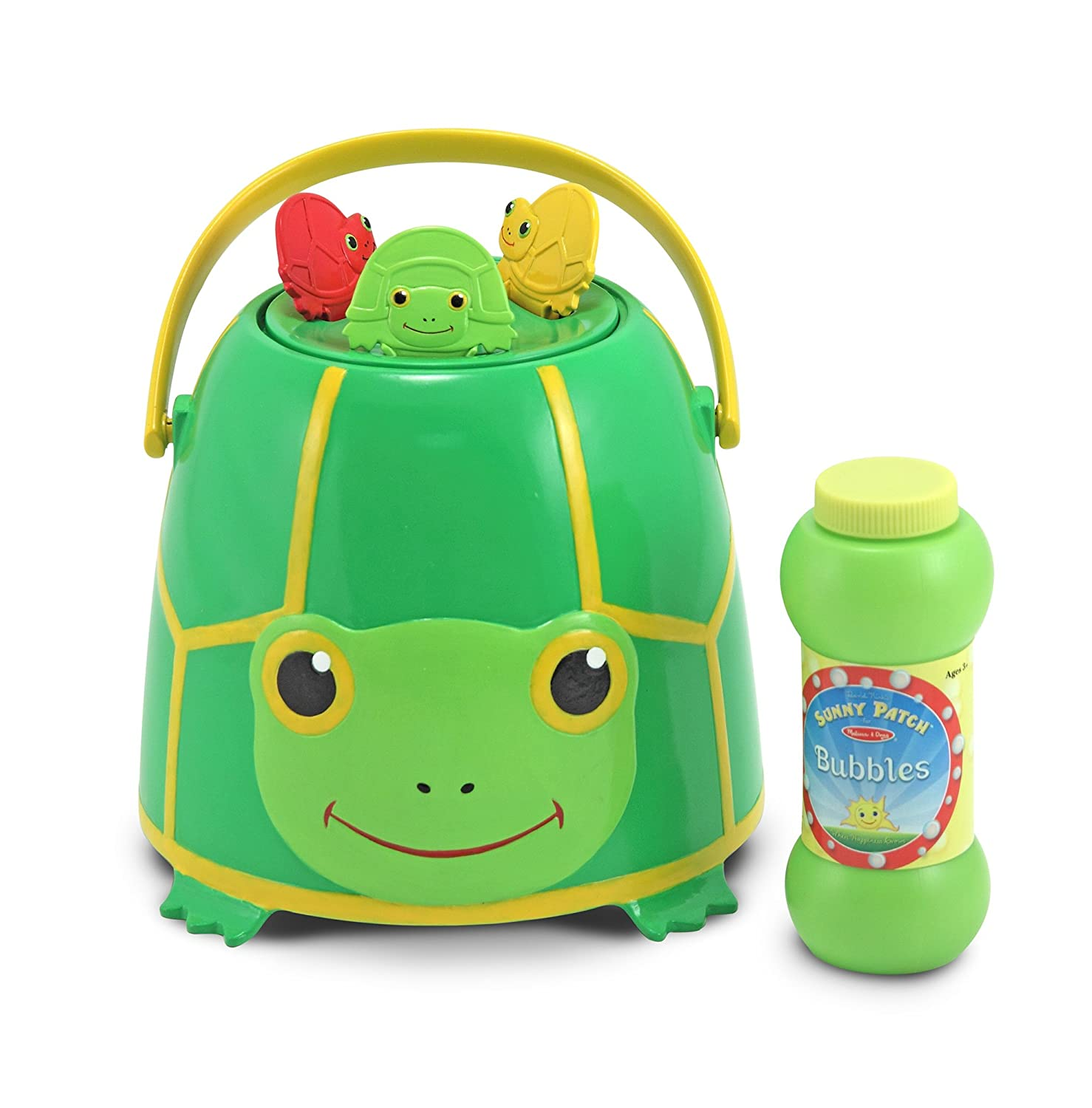 Melissa Doug Sunny Patch Tootle Turtle Bubble Blowing Bucket Set With 3 Bubble Wands