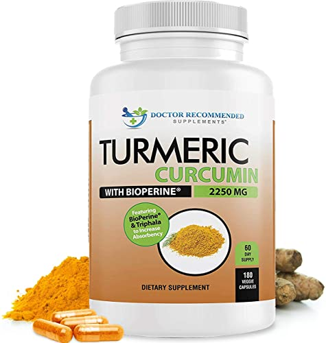 Turmeric Curcumin – 2250mg d – 180 Veggie Caps – 95 Curcuminoids with Black Pepper Extract Bioperine – 750mg Capsules – Most Powerful Turmeric Supplement with Triphala