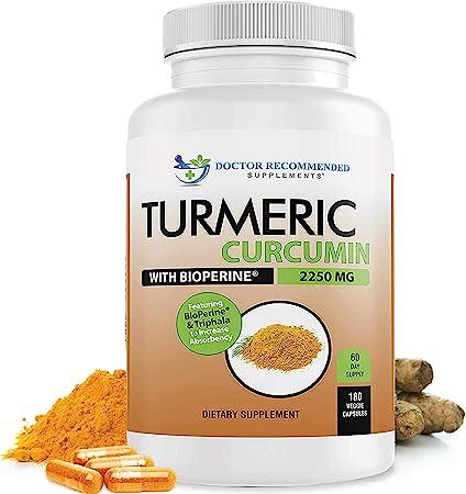 Turmeric Curcumin - 2250mg/d - Veggie Capsules - 95% Curcuminoids with Black Pepper Extract (Bioperine) - 100% Organic - Most Powerful Turmeric Supplement with Triphala (180 Count)